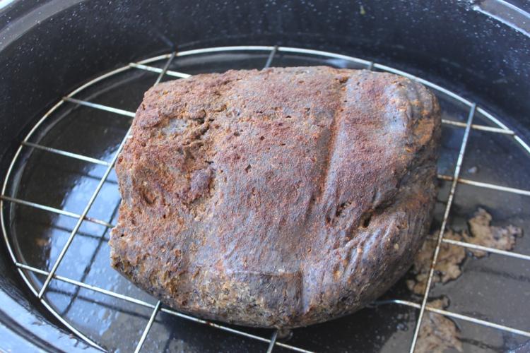 Seitan fumé et cuit au four.