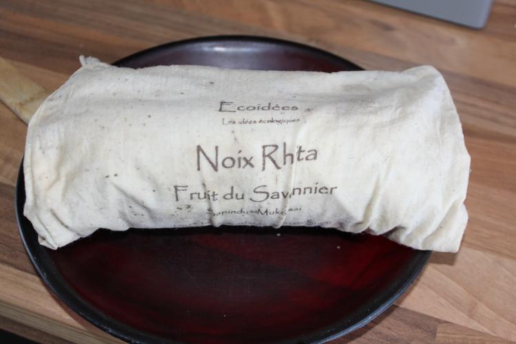 J'ai fait pré-cuire à la vapeur dans un sac en coton bio de recup.